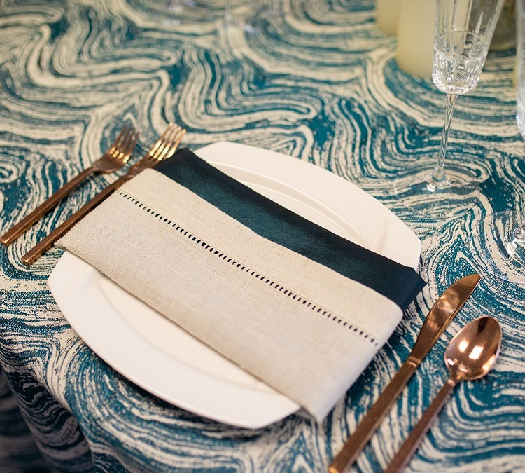 Peacock Marble Linen, Teal Swirl Table Cloth