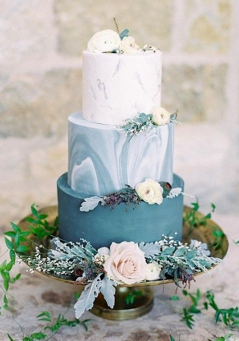 Shades of Blue Marble Wedding Cake