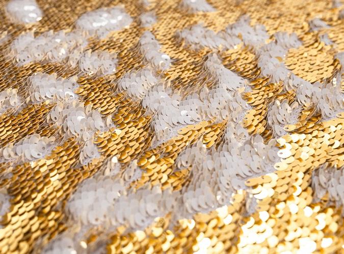 White & Gold Mermaid Sequin Close Up